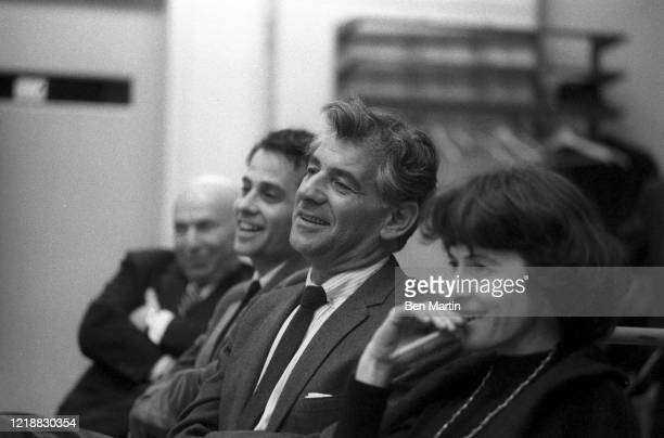 Leonard Bernstein and colleagues rehearse a tribute performance for slain Cradle Will Rock composer Marc Blitzstein at Philharmonic Hall with...