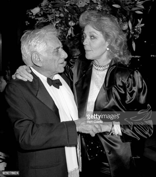 Leonard Bernstein and Lauren Bacall attend Albert Schweitzer Awards on April 21 1987 at Avery Fisher Hall at Lincoln Center in New York City