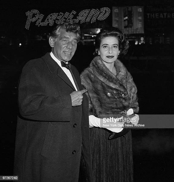 Leonard Bernstein and wife Felicia t the Warner Theatre 47th St Broadway for the world premiere of 'Exodus'