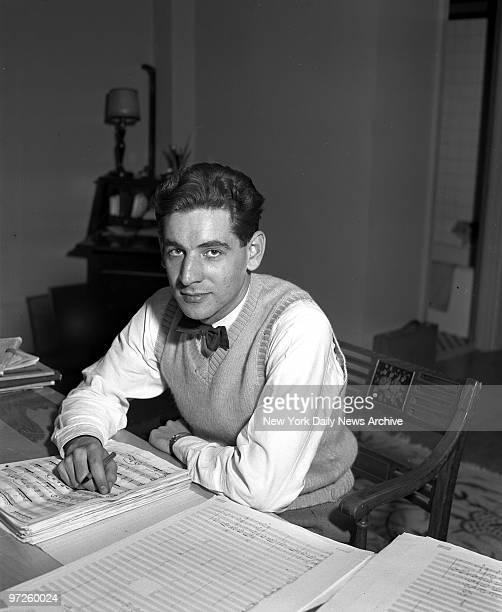Leonard Bernstein new conductor at Carnegie Hall studying music