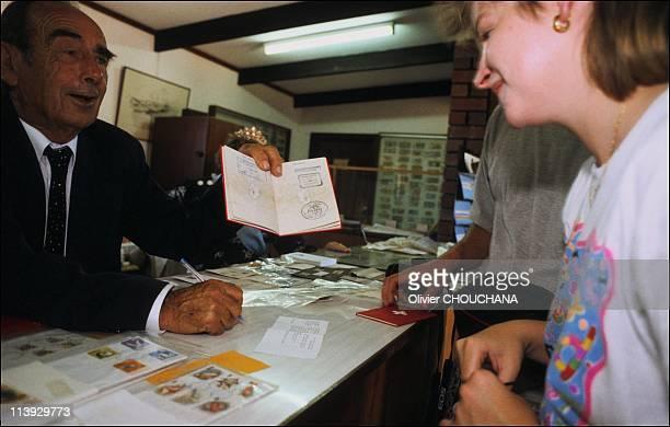 Leonard Castley Prince of Oz In Australia On June 1998Stamping obligatory visa at Hutt River post office
