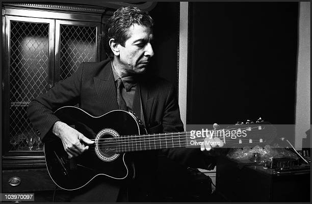 Leonard Cohen Canadian poet and singersongwriter plays some of his songs in a small recording studio lower Manhattan New York mid 1980s