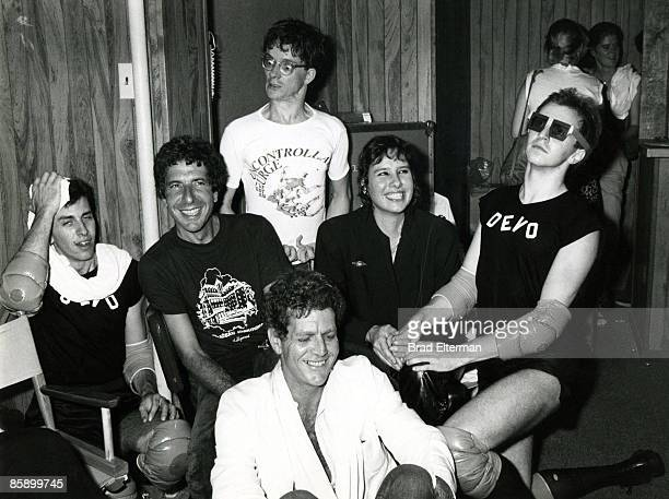 LOS ANGELES JANUARY 01 1978 Leonard Cohen David Blue Mark Mothersbaugh of Devo Martine Getty and a Devo member backstage at The Starwood in Los...