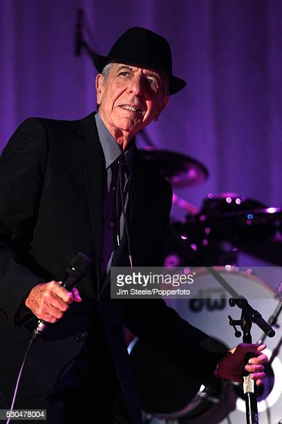 Leonard Cohen performing on stage at Wembley Arena in London on the 8th September 2012