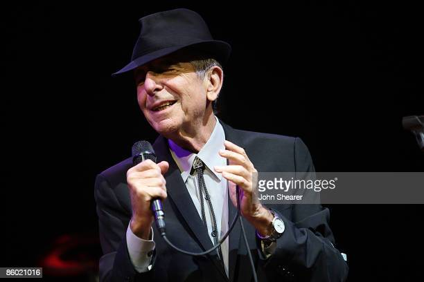 Leonard Cohen performs during day 1 of the Coachella Valley Music Arts Festival 2009 at the Empire Polo Club on April 17 2009 in Indio California