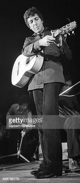 Leonard Cohen performs live on stage in Amsterdam Netherlands in 1975