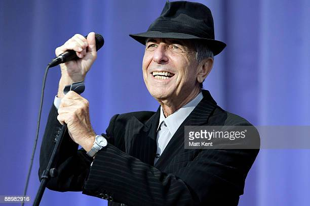 Leonard Cohen performs on stage at MercedesBenz World on July 11 2009 in Weybridge England