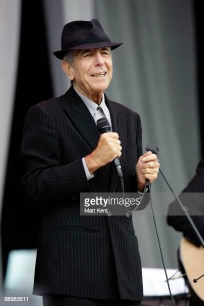 Leonard Cohen performs on stage at MercedesBenz World on July 11 2009 in Weybridge England