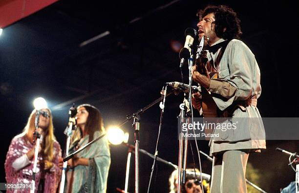 Leonard Cohen performs on stage at the Isle Of Wight Festival 30th August 1970