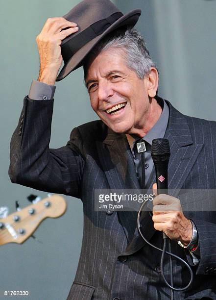 Leonard Cohen performs on the Pyramid stage during day three of the Glastonbury Festival at Worthy Farm Pilton on June 29 2008 in Glastonbury...