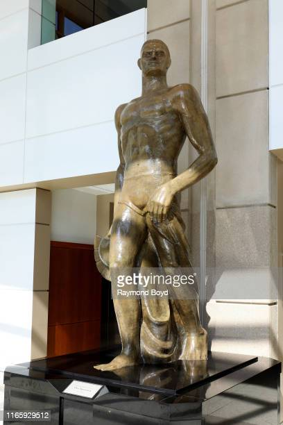 Leonard D. Jungwirth's original 'The Spartan' statue stands inside the Spartan Stadium annex at Michigan State University in East Lansing, Michigan...