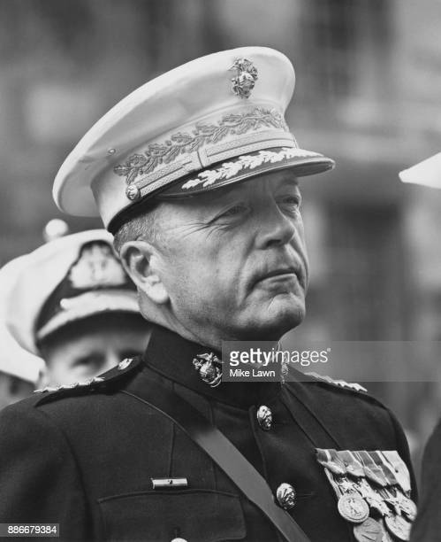 Leonard Fielding Chapman Jr Commandant of the United States Marine Corps inspects a guard of honour of the Royal Marines at the Ministry of Defence...