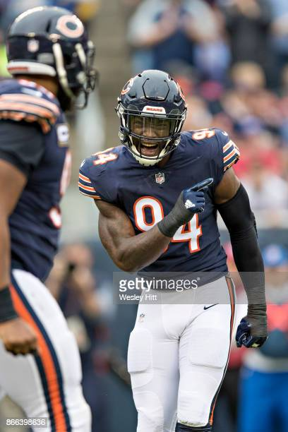 Leonard Floyd of the Chicago Bears celebrates after a sack during a game against the Carolina Panthers at Soldier Field on October 22 2017 in Chicago...