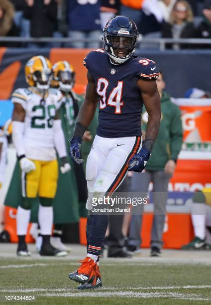 Leonard Floyd of the Chicago Bears celebrates after sacking Aaron Rodgers of the Green Bay Packers at Soldier Field on December 16 2018 in Chicago...