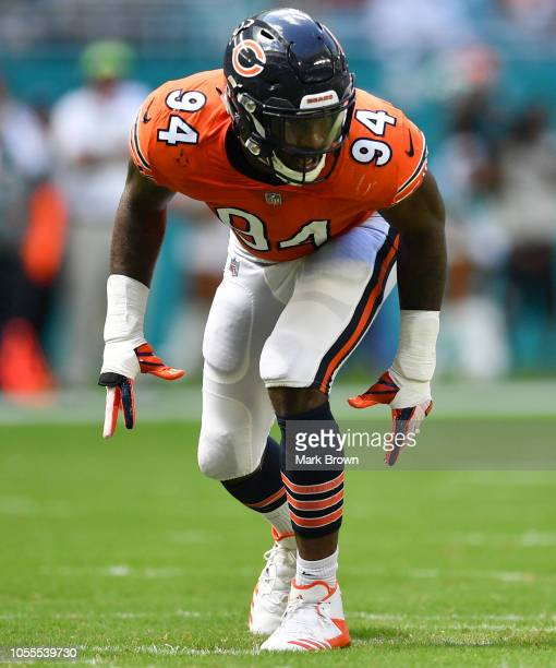 Leonard Floyd of the Chicago Bears in action against the Miami Dolphins at Hard Rock Stadium on October 14 2018 in Miami Florida