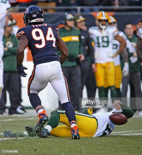 Leonard Floyd of the Chicago Bears jumps up after sacking Aaron Rodgers of the Green Bay Packers at Soldier Field on December 16 2018 in Chicago...
