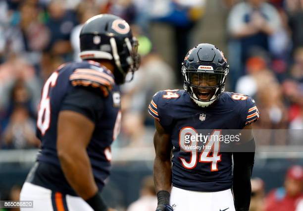 Leonard Floyd of the Chicago Bears reacts after a sack on quarterback Cam Newton of the Carolina Panthers in the first quarter at Soldier Field on...