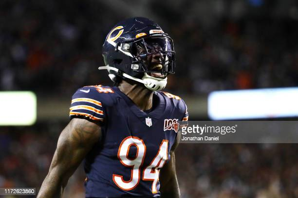 Leonard Floyd of the Chicago Bears reacts during the first quarter against the Green Bay Packers in the game at Soldier Field on September 05 2019 in...