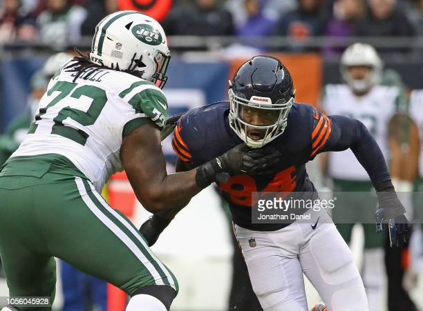 Leonard Floyd of the Chicago Bears rushes against Brandon Shell of the New York Jets at Soldier Field on October 28 2018 in Chicago Illinois The...