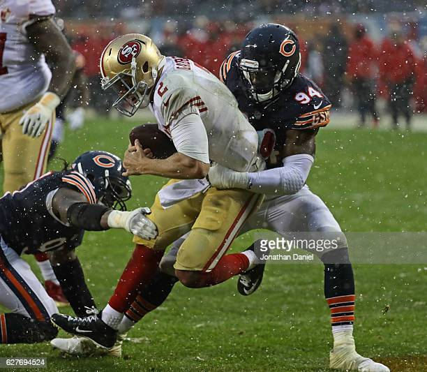 Leonard Floyd of the Chicago Bears sacks Blaine Gabbert of the San Francisco 49ers in the end zone for a safety at Soldier Field on December 4 2016...
