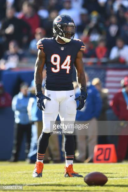 Leonard Floyd of the Chicago Bears waits for a play during a game against the Green Bay Packers at Soldier Field on December 16 2018 in Chicago...
