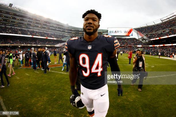 Leonard Floyd of the Chicago Bears walks off of the field after the Bears defeated the Carolina Panthers 173 at Soldier Field on October 22 2017 in...