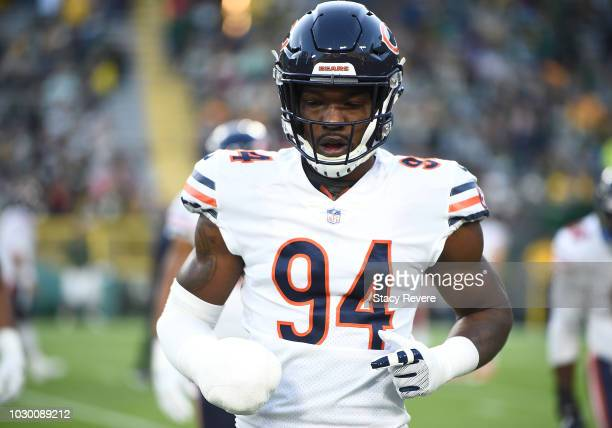 Leonard Floyd of the Chicago Bears warms up before a game against the Green Bay Packers at Lambeau Field on September 9 2018 in Green Bay Wisconsin