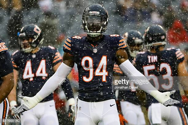Leonard Floyd of the Chicago Bears warms up prior to the game against the San Francisco 49ers at Soldier Field on December 4 2016 in Chicago Illinois