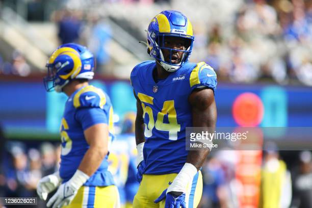 Leonard Floyd of the Los Angeles Rams in action against the New York Giants at MetLife Stadium on October 17, 2021 in East Rutherford, New Jersey....
