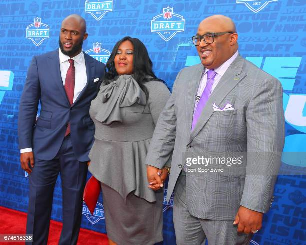 Leonard Fournette from LSU along with his mother Lory and his father Leonard on the Red Carpet outside of the NFL Draft Theater on April 27 2017 in...