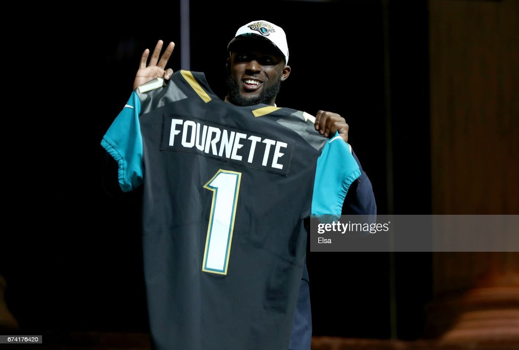 Leonard Fournette of LSU reacts poses after being picked #4 overall by the Jacksonville Jaguars during the first round of the 2017 NFL Draft at the Philadelphia Museum of Art on April 27, 2017 in Philadelphia, Pennsylvania.