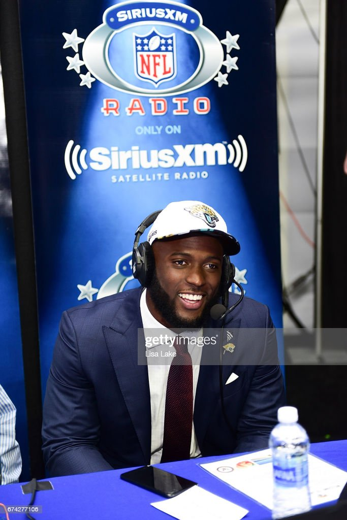 Leonard Fournette of LSU visits the SiriusXM NFL Radio talkshow after being picked #4 overall by the Jacksonville Jaguars during the first round of 2017 NFL Draft at Philadelphia Museum of Art on April 27, 2017 in Philadelphia, Pennsylvania.