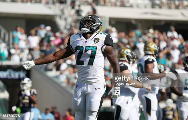 Leonard Fournette of the Jacksonville Jaguars celebrates after a 75yard touchdown in the first half of their game against the Los Angeles Rams at...