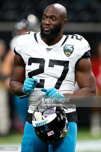 Leonard Fournette of the Jacksonville Jaguars looks on prior to a game against the Atlanta Falcons at MercedesBenz Stadium on December 22 2019 in...