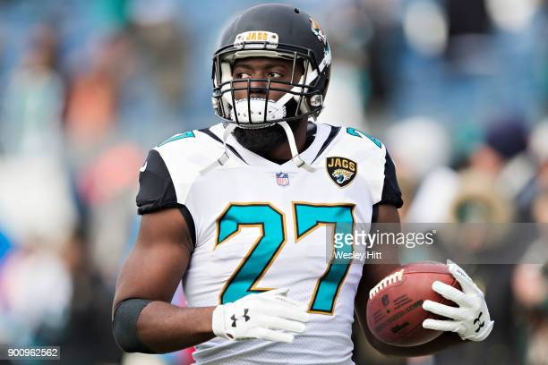 Leonard Fournette of the Jacksonville Jaguars warms up before a game against the Tennessee Titans at Nissan Stadium on December 31 2017 in Nashville...