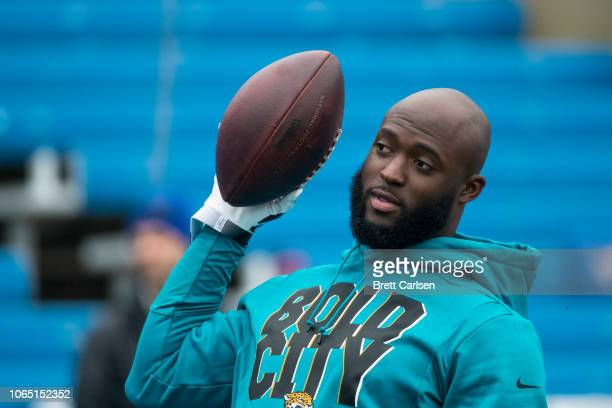 Leonard Fournette of the Jacksonville Jaguars warms up before the game against the Buffalo Bills at New Era Field on November 25 2018 in Orchard Park...