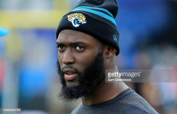 Leonard Fournette of the Jacksonville Jaguars watches warmups prior to the game against the New England Patriots at TIAA Bank Field on September 16...