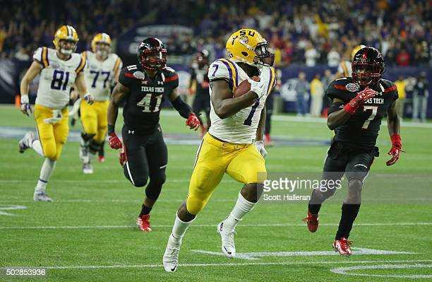 Leonard Fournette of the LSU Tigers runs for a 44yard touchdown uring the first half of their game against the Texas Tech Red Raiders during the...