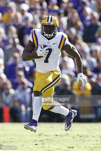 Leonard Fournette of the LSU Tigers runs with the ball during a game against the Florida Gators at Tiger Stadium on November 19 2016 in Baton Rouge...