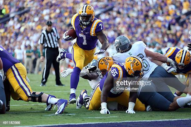 Leonard Fournette of the LSU Tigers scores a touchdown against the Eastern Michigan Eagles at Tiger Stadium on October 3 2015 in Baton Rouge Louisiana