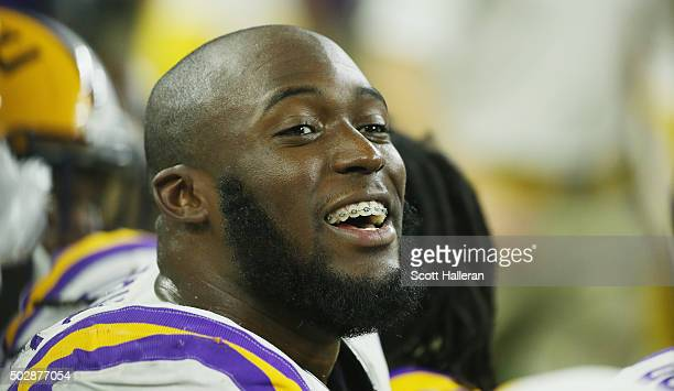 Leonard Fournette of the LSU Tigers waits on the bench during the second half of their game against the Texas Tech Red Raiders during the AdvoCare...
