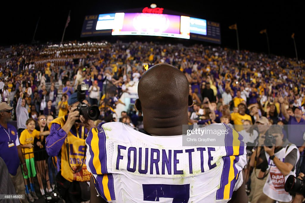 Leonard Fournette #7 of the LSU Tigers walks off the field after defeating the Florida Gators 35-28 at Tiger Stadium on October 17, 2015 in Baton Rouge, Louisiana.