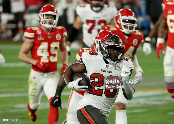 Leonard Fournette of the Tampa Bay Buccaneers carries the ball during the third quarter against the Kansas City Chiefs in Super Bowl LV at Raymond...