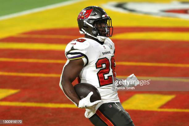 Leonard Fournette of the Tampa Bay Buccaneers scores a 27 yard touchdown in the third quarter against the Kansas City Chiefs in Super Bowl LV at...