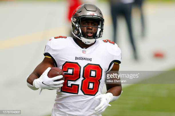 Leonard Fournette of the Tampa Bay Buccaneers warms up before the game against the Carolina Panthers at Raymond James Stadium on September 20, 2020...