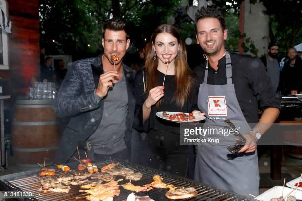 Leonard Freier Ekaterina Leonova and Alexander Wahi attend the Kaufland Hosts VIP BBQ at OberhafenKantine on July 12 2017 in Berlin Germany
