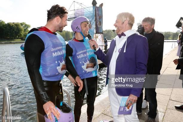Leonard Freier, Luca Haenni and Ross Antony during the Milka Charity Blobbing-Event at Hamburger Stadtpark on May 22, 2019 in Hamburg, Germany.