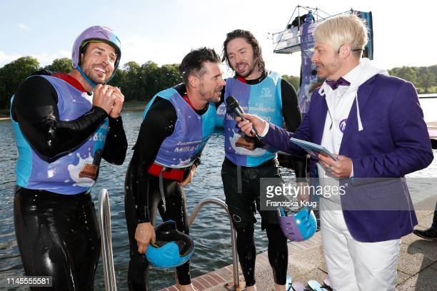 Leonard Freier, Thore Schoelermann, Gil Ofarim and Ross Antony during the Milka Charity Blobbing-Event at Hamburger Stadtpark on May 22, 2019 in...
