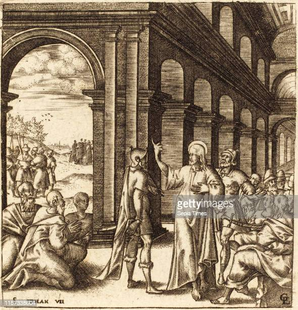 Leonard Gaultier , Christ at the Feast of Tabernacles, probably c. 1576-1580, engraving.