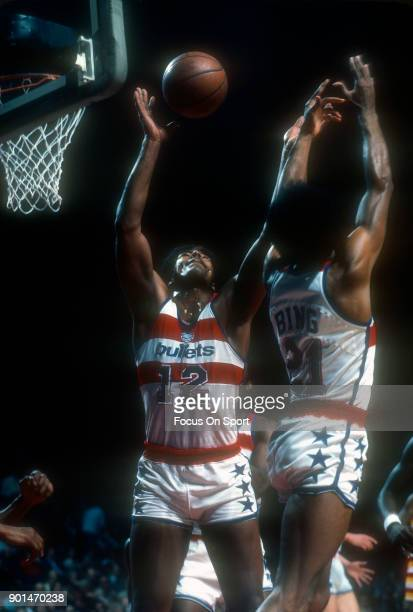 Leonard Gray of the Washington Bullets battles for a rebound with teammate Dave Bing during an NBA basketball game circa 1977 at the Capital Centre...